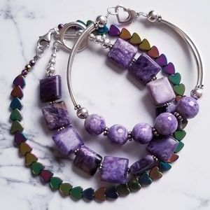 GEMSTONE BRACELET SET OF 3 $70